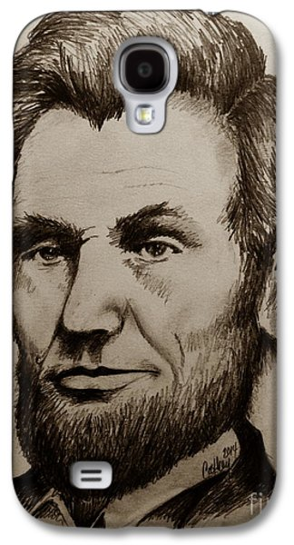 Abolition Drawings Galaxy S4 Cases - Abraham Lincoln Sepia Tone Galaxy S4 Case by Catherine Howley