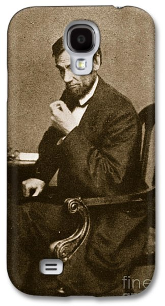 Historical Figures Galaxy S4 Cases - Abraham Lincoln Sitting at Desk Galaxy S4 Case by Mathew Brady
