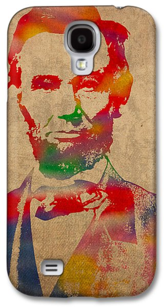 Abraham Lincoln Galaxy S4 Cases - Abraham Lincoln Watercolor Portrait on Worn Distressed Canvas Galaxy S4 Case by Design Turnpike