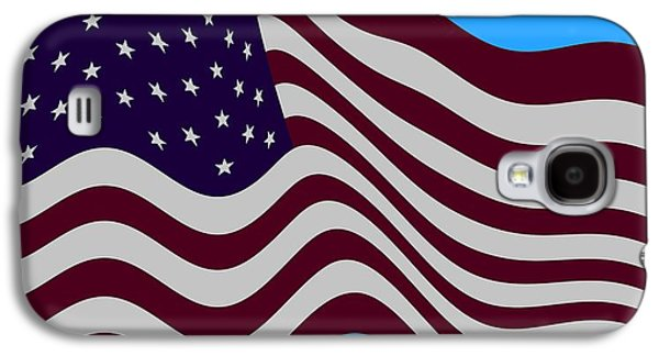 Joe Biden Galaxy S4 Cases - Abstract Burgundy Grey Violet 50 Star American Flag Flying Cropped Galaxy S4 Case by L Brown