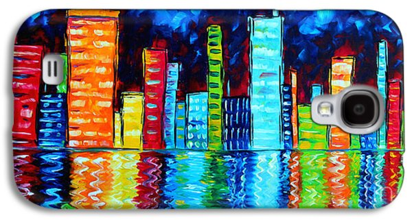 """abstract Art"" Galaxy S4 Cases - Abstract Art Landscape City Cityscape Textured Painting CITY NIGHTS II by MADART Galaxy S4 Case by Megan Duncanson"