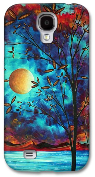 Abstract Art Landscape Tree Blossoms Sea Moon Painting Visionary Delight By Madart Galaxy S4 Case by Megan Duncanson