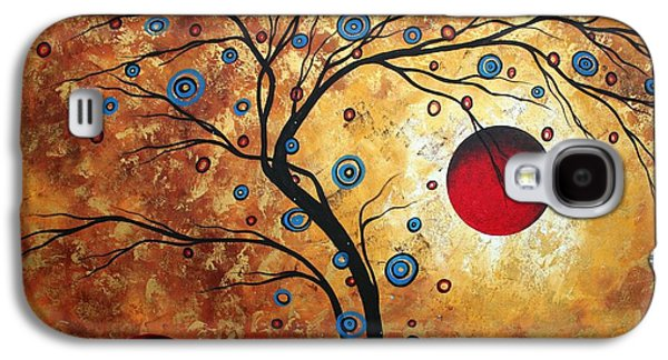 """abstract Art"" Galaxy S4 Cases - Abstract Art Landscape Tree Metallic Gold Texture Painting FREE AS THE WIND by MADART Galaxy S4 Case by Megan Duncanson"