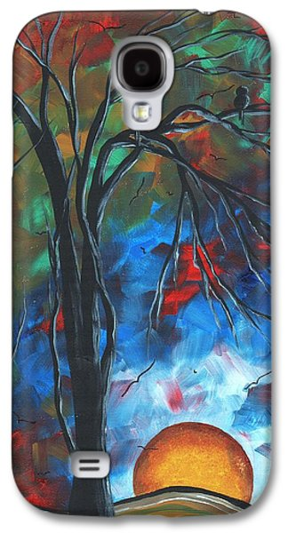 Colorful Abstract Galaxy S4 Cases - Abstract Art Original Colorful Bird Painting SPRING BLOSSOMS by MADART Galaxy S4 Case by Megan Duncanson