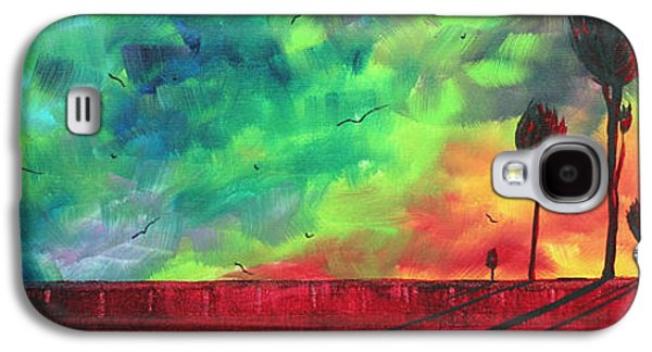 Abstract Nature Galaxy S4 Cases - Abstract Art Original Colorful Landscape Painting BURNING SKIES by MADART  Galaxy S4 Case by Megan Duncanson
