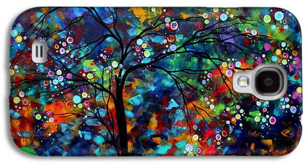 Design Paintings Galaxy S4 Cases - Abstract Art Original Landscape Painting Bold Colorful Design SHIMMER IN THE SKY by MADART Galaxy S4 Case by Megan Duncanson