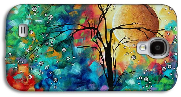 Gold Lime Green Galaxy S4 Cases - Abstract Art Original Whimsical Modern Landscape Painting BURSTING FORTH by MADART Galaxy S4 Case by Megan Duncanson