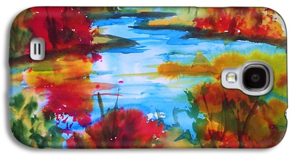 Nature Abstracts Galaxy S4 Cases - Abstract - Autumn Blaze on Catskill Creek Galaxy S4 Case by Ellen Levinson