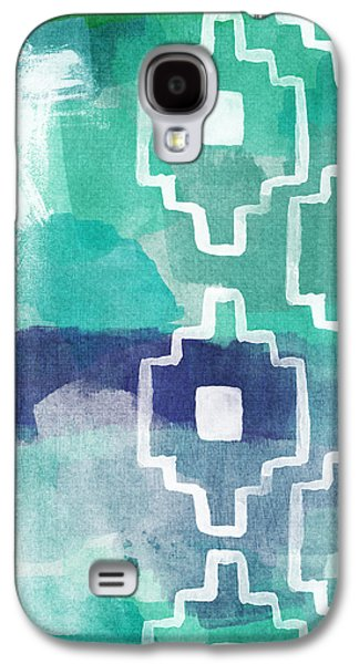 Blue Abstract Galaxy S4 Cases - Abstract Aztec- contemporary abstract painting Galaxy S4 Case by Linda Woods