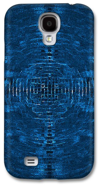 Abstract Blue Electric Circuit Future Technology_oil Painting On Canvas Galaxy S4 Case by Nenad Cerovic