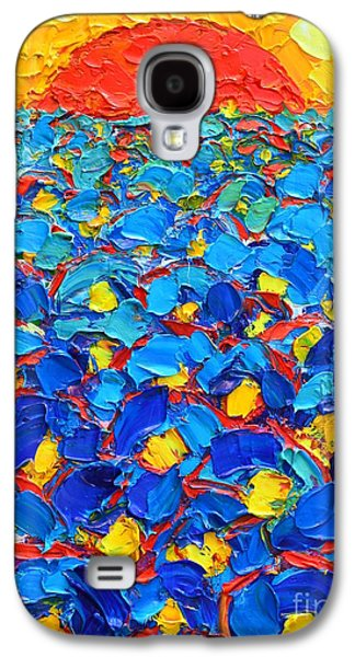 Sunset Abstract Galaxy S4 Cases - Abstract Blue Poppies In Sunrise -original Oil Painting Galaxy S4 Case by Ana Maria Edulescu