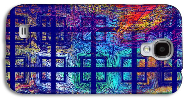 Geometric Digital Art Galaxy S4 Cases - Abstract Blue Psychedelic Tiled Fractal Flame Galaxy S4 Case by Keith Webber Jr