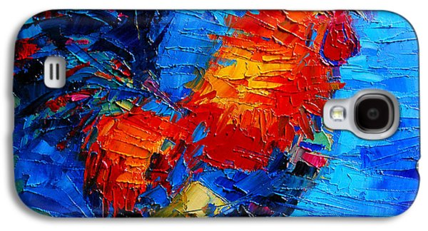 Pride Paintings Galaxy S4 Cases - Abstract Colorful Gallic Rooster Galaxy S4 Case by Mona Edulesco