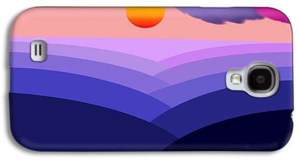Canoe Mixed Media Galaxy S4 Cases - Abstract Decorative Hazy Winding River Gorge Sunrise  Galaxy S4 Case by L Brown