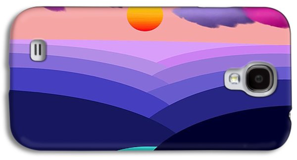 Canoe Mixed Media Galaxy S4 Cases - Abstract Decorative Hazy Winding River Gorge Sunrise with border Galaxy S4 Case by L Brown