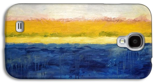 Seascape Digital Galaxy S4 Cases - Abstract Dunes with Blue and Gold Galaxy S4 Case by Michelle Calkins
