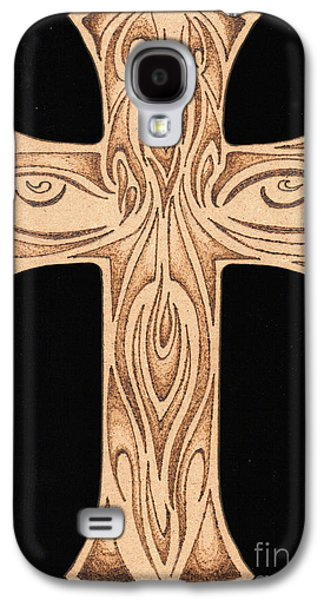 Drawing Pyrography Galaxy S4 Cases - Abstract Face and Eyes Drawing Burnt On Wood Cross Pyrography Galaxy S4 Case by Ray B