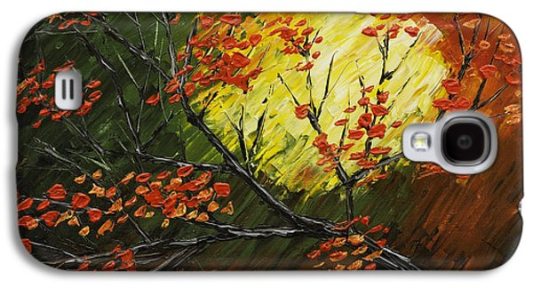 Maple Season Paintings Galaxy S4 Cases - Abstract Fall Tree Painting Galaxy S4 Case by Keith Webber Jr