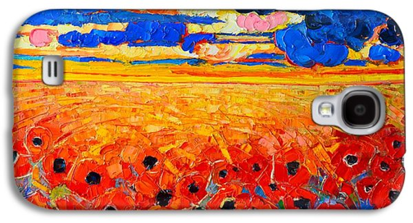Abstracted Galaxy S4 Cases - Abstract Field Of Poppies Under Cloudy Sunset  Galaxy S4 Case by Ana Maria Edulescu