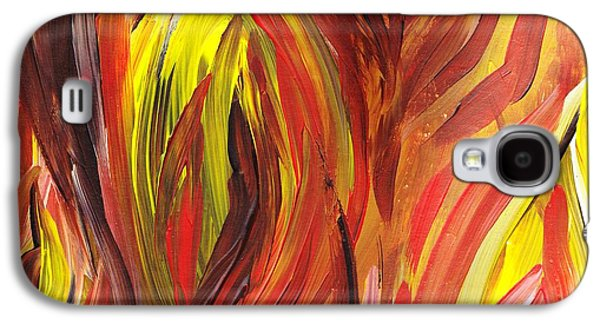 Inspired Paintings Galaxy S4 Cases - Abstract Flames Galaxy S4 Case by Irina Sztukowski