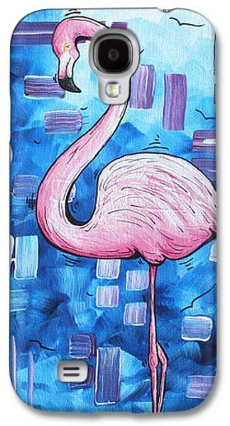 Abstract Landscape Galaxy S4 Cases - Abstract Flamingo Tropical Art Original Painting FLAMINGO DREAMS by MADART Galaxy S4 Case by Megan Duncanson