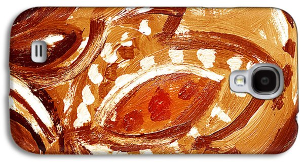 Nature Abstracts Galaxy S4 Cases - Abstract Floral Butterscotch And Chocolate Galaxy S4 Case by Irina Sztukowski