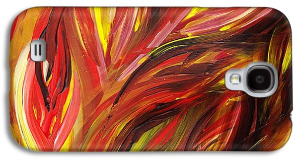 Inspired Paintings Galaxy S4 Cases - Abstract Floral Flaming Leaves Galaxy S4 Case by Irina Sztukowski