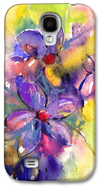 Colorful Abstract Drawings Galaxy S4 Cases - abstract Flower botanical watercolor painting print Galaxy S4 Case by Svetlana Novikova