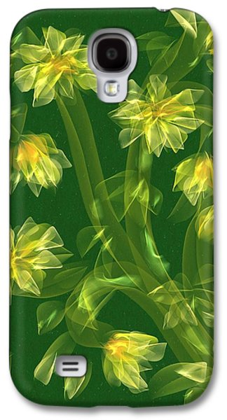 Abstract Digital Paintings Galaxy S4 Cases - Abstract flower field Galaxy S4 Case by Veronica Minozzi