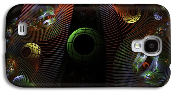 Abstract Digital Art Galaxy S4 Cases - Abstract Fractal Art - Digital Image - Psychedelic Spheres - Green Pink - Modern Art Galaxy S4 Case by Keith Webber Jr