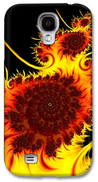Abstract Digital Galaxy S4 Cases - Abstract fractal art warm vivid colors red orange yellow black Galaxy S4 Case by Matthias Hauser