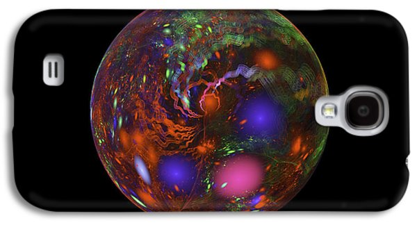 Abstract Digital Art Galaxy S4 Cases - Abstract Fractal Sphere Digital Image Black Modern Art Galaxy S4 Case by Keith Webber Jr