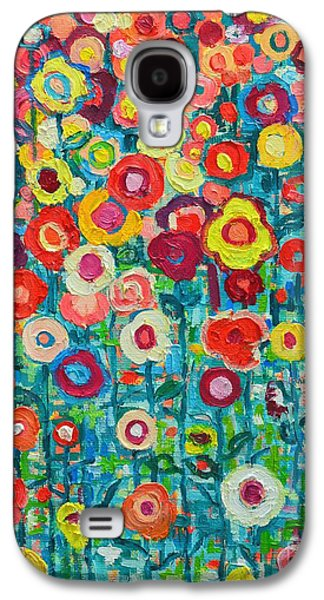 Garden Flowers Galaxy S4 Cases - Abstract Garden Of Happiness Galaxy S4 Case by Ana Maria Edulescu