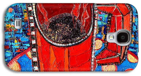 Abstracted Galaxy S4 Cases - Abstract Hot Coffee In Red Mug Galaxy S4 Case by Ana Maria Edulescu