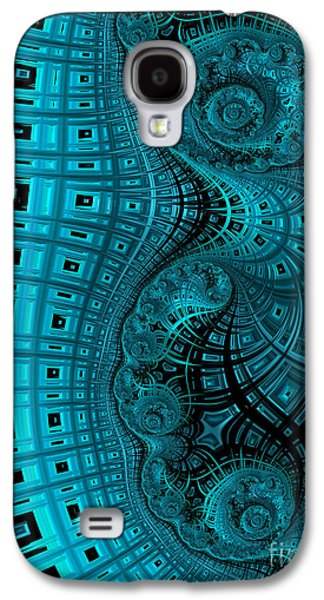 Blue Abstracts Digital Art Galaxy S4 Cases - Abstract in Blue and Black Galaxy S4 Case by John Edwards