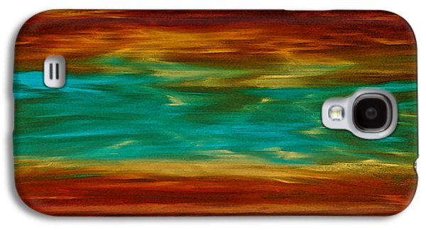 Earth Tones Paintings Galaxy S4 Cases - Abstract Landscape Art - Fire Over Copper Lake - By Sharon Cummings Galaxy S4 Case by Sharon Cummings