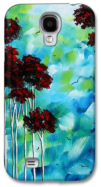 Abstract Landscape Galaxy S4 Cases - Abstract Landscape Art Original Tree and Moon Painting BLUE MOON by MADART Galaxy S4 Case by Megan Duncanson