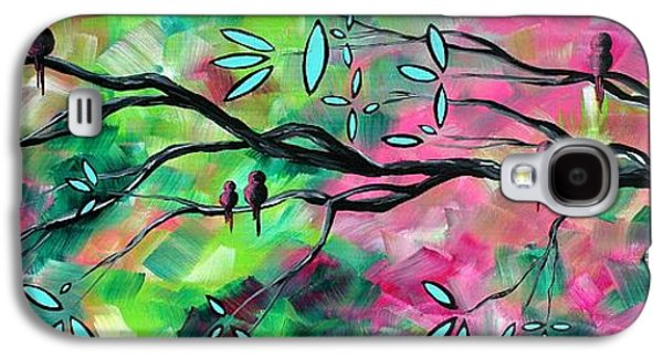 Abstracts Galaxy S4 Cases - Abstract Landscape Bird and Blossoms Original Painting BIRDS DELIGHT by MADART Galaxy S4 Case by Megan Duncanson