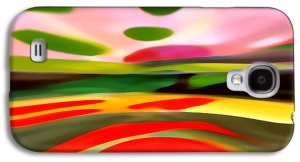 Colorful Abstract Digital Galaxy S4 Cases - Abstract Landscape of Happiness Galaxy S4 Case by Amy Vangsgard