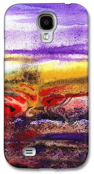 Business Paintings Galaxy S4 Cases - Abstract Landscape Purple Sunrise Earthy Swirl Galaxy S4 Case by Irina Sztukowski