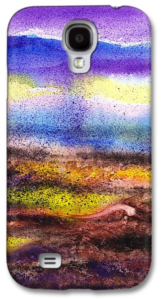 Business Paintings Galaxy S4 Cases - Abstract Landscape Purple Sunrise Yellow Fog Galaxy S4 Case by Irina Sztukowski