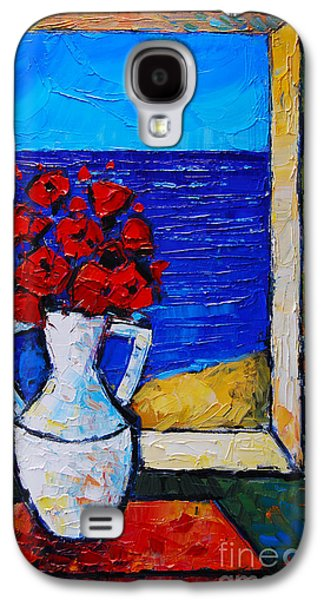 Interior Still Life Paintings Galaxy S4 Cases - Abstract Poppies By The Sea Galaxy S4 Case by Mona Edulesco