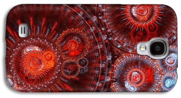 Modern Digital Digital Digital Galaxy S4 Cases - Abstract red circle fractal  Galaxy S4 Case by Martin Capek