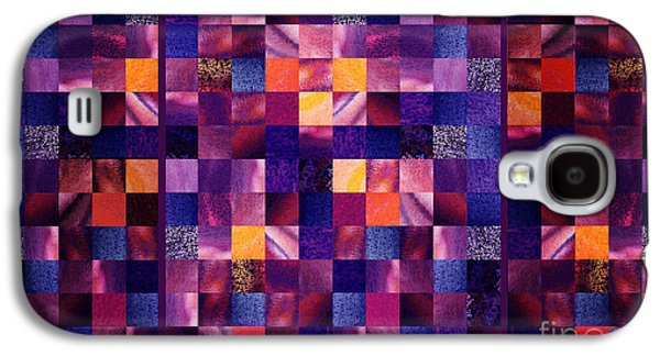 Digital Watercolor Paintings Galaxy S4 Cases - Abstract Squares Triptych Gentle Purple Galaxy S4 Case by Irina Sztukowski
