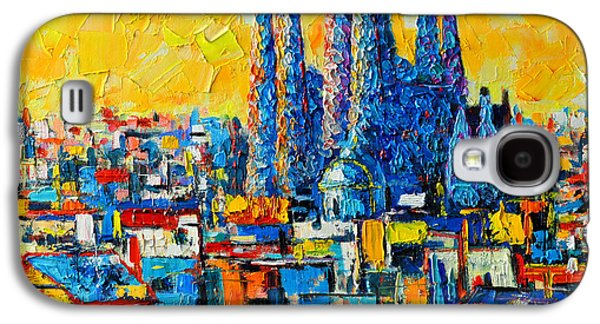 Expressionism Galaxy S4 Cases - Abstract Sunset Over Sagrada Familia In Barcelona Galaxy S4 Case by Ana Maria Edulescu
