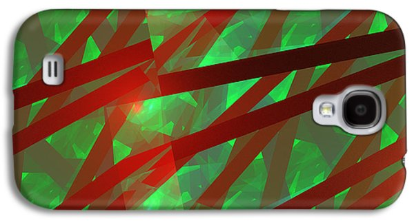 Geometric Digital Art Galaxy S4 Cases - Abstract Tiled Green And Red Fractal Flame Galaxy S4 Case by Keith Webber Jr