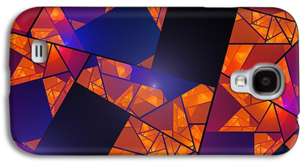 Geometric Digital Art Galaxy S4 Cases - Abstract Tiled Orange And Blue Fractal Flame Galaxy S4 Case by Keith Webber Jr