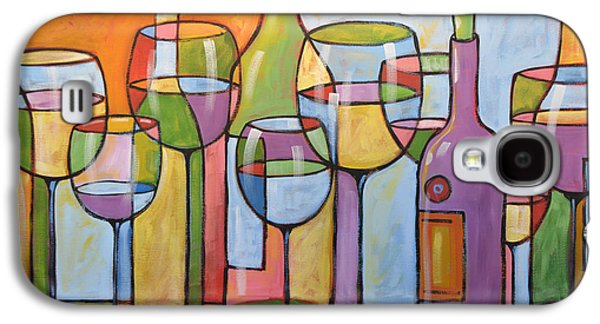 Red Wine Prints Galaxy S4 Cases - Abstract Wine Dining Room Bar Kitchen Art ... Time To Relax Galaxy S4 Case by Amy Giacomelli