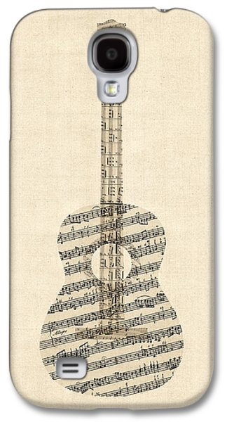 Sheet Galaxy S4 Cases - Acoustic Guitar Old Sheet Music Galaxy S4 Case by Michael Tompsett