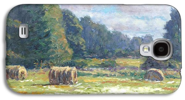 Hay Bales Paintings Galaxy S4 Cases - Across the Fields Galaxy S4 Case by Michael Camp